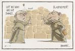 Cartoon of Tony Abbott and Kevin Rudd dressed as monks. Abbott casts a stone at Rudd and calls him a blasphemer. Rudd responds: 'Let he who not sinned...'.