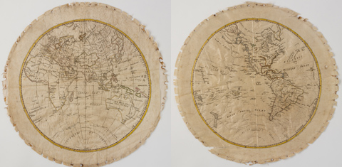 Pair of circular silk sampler maps, embroidered in black and coloured threads. One shows the eastern hemisphere of the world and the other the western hemisphere. The route of Captain Cook's three voyages to the Pacific are indicated in coloured thread. The maps are backed with cotton cloth, and there are pin holes around their edges.