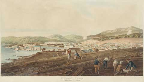 Coloured drawing showing a small settlement formed around a bay of water, with hills rising in the distance and five figures at work in the front right.