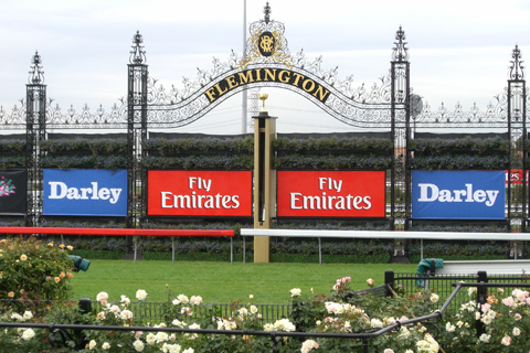 The finishing post at Flemington Racecourse