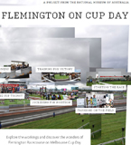 A screenshot image of the 'Flemington on Cup day' multimedia interactive.