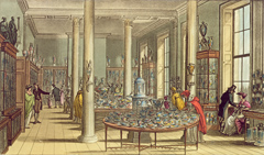 Illustration of a hall with crockery on tables for sale.