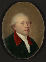 A colour portrait painting of a man dressed in clothes from the eighteenth century. The painting is in an oval format. The man is visible from just below chest height upwards. He faces to the right of the image and has his head turned slightly toward the viewer. He wears a dark coat with a red collar and a white scarf around his neck. The scarf is tucked into the front of his coat. His hair is pale in colour and is done in the fashion of the era - brushed back with rolls above his ears. The background is a plain brown surface. Light falling on the man's face creates soft highlights and areas of gentle shadows.