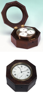 Top: A timekeeping device from the eighteenth century. The mechanism is mounted in an eight-sided dark wooden case with a lid. The lid has the centre removed so that the mechanism can be seen when the lid is closed. The mechanism is in a cylindrical metal case sitting in the wooden case. Three white clock faces with black hands and markings are visible under a glass covering. The wooden case lid is attached by two brass hinges; a lock aperture is visible on one side of the case body. The entire unit is sitting on a plain white photography studio backdrop. The studio lighting casts soft shadows behind the device. Bottom: A timekeeping device from the eighteenth century. The mechanism is in an eight-sided dark wooden case. The case lid has had the centre removed so that the mechanism clock face is visible when the lid is closed. The white clock face has black markings and hands. The outer ring of the face has black numbers starting with sixty at the twelve position and moving in five second intervals in the clockwise direction. The next ring in has the usual clock hour markings in Roman numerals. A smaller clock face is inside the main face, toward the bottom. It has a single sweep hand and the numbers sixty, fifteen and fourty five in the twelve, three and nine positions. The bottom of this face is obscured by the brass outer ring of the main face.