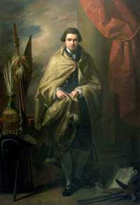 Portrait of Joseph Banks surrounded by the ethnographic artefacts collected on the Endeavour voyage.