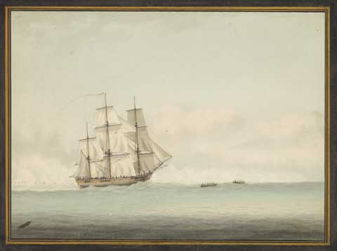 1794 painting that shows the crew of HMB Endeavour in longboats attempting to pull the ship free from the reef