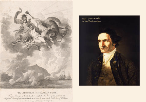 Left: Engraving based on Cook's Pacific Voyages. Right: Portrait of Captain James Cook by artist William Hodges in about 1775.