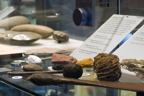 First Australians display featuring stone and fire tools.