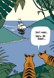 Cartoon of one Tasmanian tiger consoling another that the first fleet sailing into the harbour below is not a problem.