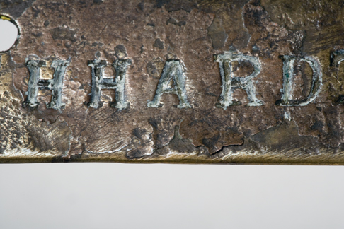 Close up image of the 'HHARD' lettering on the Leichhardt nameplate.