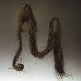 Black human hair loosely and unevenly twisted into a long bundle, partly in loops.