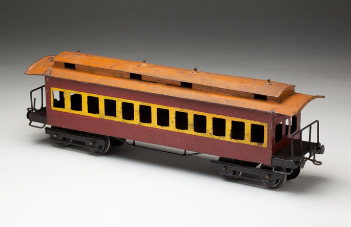 New South Wales Railways suburban passenger car, made from tinplate in about 1940, attributed to Leonard Pluck