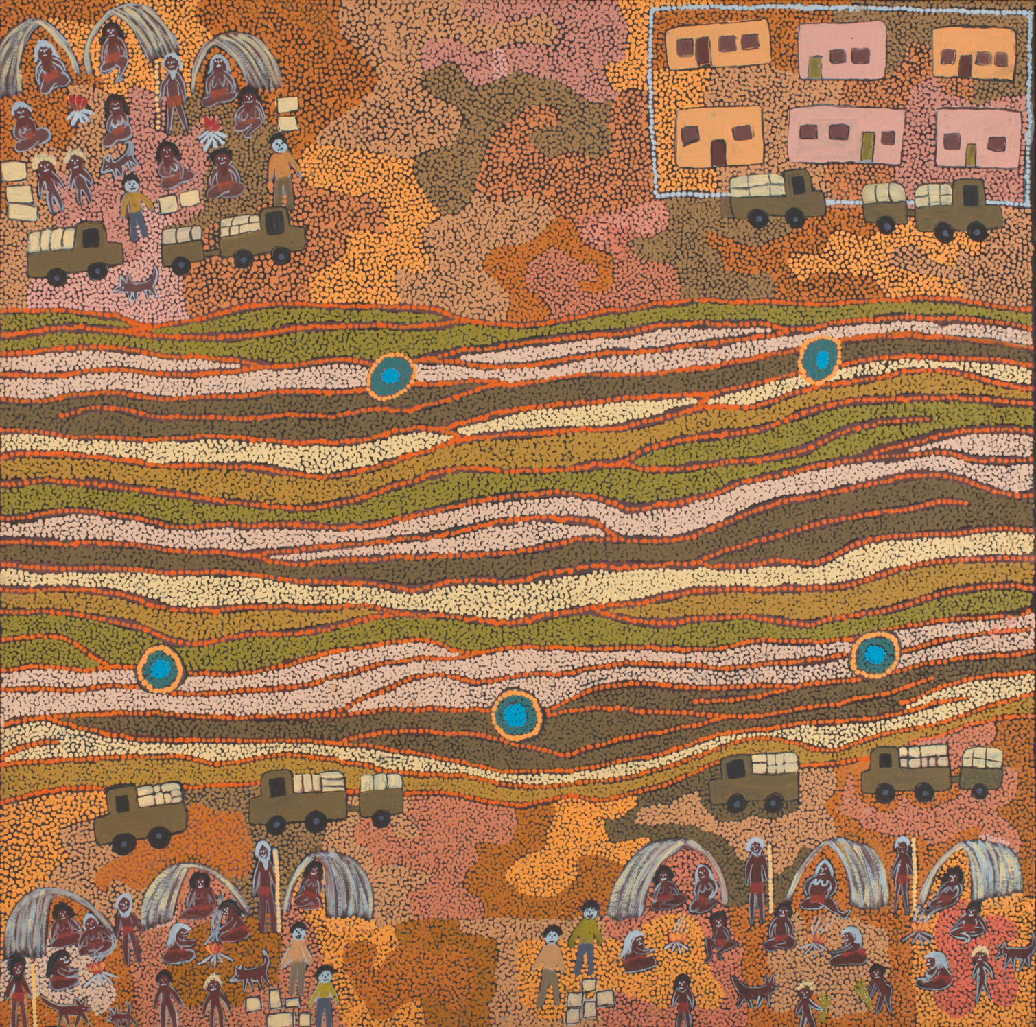An acrylic painting on canvas showing people and vehicles, with five waterholes running through the centre. - click to view larger image
