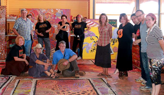 Group photo at Tjala Arts, Amata (South Australia)