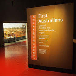 The entrance to First Australians: Gallery of Aboriginal and Torres Strait Islander Peoples.