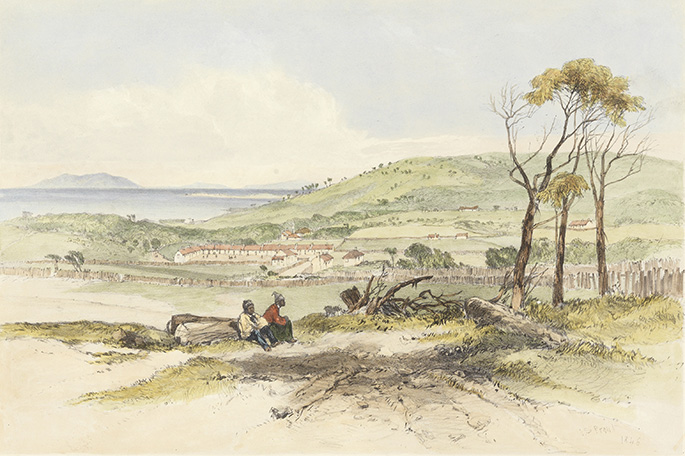 Residence of the Aborigines, Flinders Island, by John Skinner Prout, 1846.