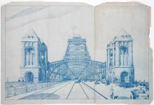 Proposed bridge design blueprint showing steel arches across a central rail line.