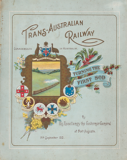 Colour, decorated program with drawing of a train steaming across green fields.