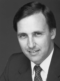 Black and white portrait photo of Paul Keating.