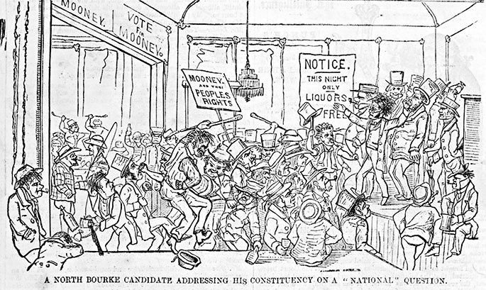 "Cartoon depicting the interior of pub in which dozens of men are brawling before a group of men on a stage. The caption reads: 'A North Bourke candidate addressing his constituency on a ""national"" question'."