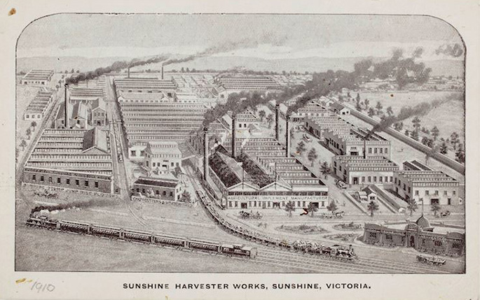 Postcard showing the exterior of the Sunshine Harvester Works.