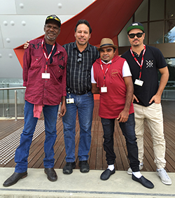 From left: Gerrard Lawford, Lee Burgess, Kristen Andrews and Jamal McCarthy in front of the Museum.