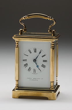 A carriage clock.