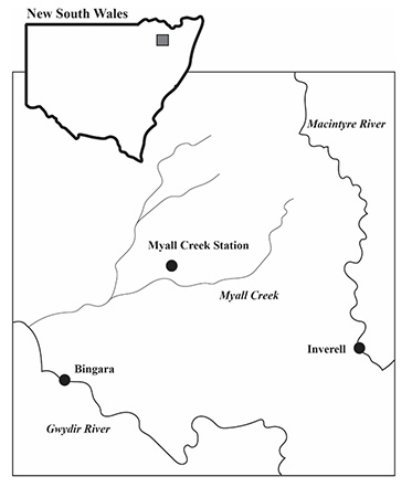 Map showing location of Myall Creek station in north-western NSW