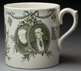 A commemorative Federation mug showing portraits of Sir Henry Parkes and the Governor-General, Lord Hopetoun