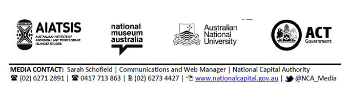 Logos for AIATSIS, National Museum of Australia, Australian National University and ACT Government.