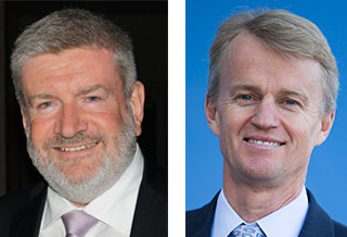 Portraitsof Senator the Hon Mitch Fifield (left) and Mr David Jones
