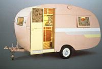Vintage pink caravan