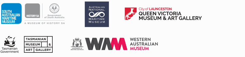 Logos for South Australian Maritime Museum (Adelaide), the Queen Victoria Museum and Art Gallery (Launceston), the Tasmanian Museum and Art Gallery (Hobart), the Australian National Maritime Museum (Sydney), the National Museum of Australia (Canberra) and the Western Australian Museum (Perth).
