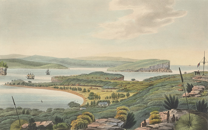 watercolour of a verdant and unspoiled South Head with North Head in the distance. Aboriginal people are standing in the foreground