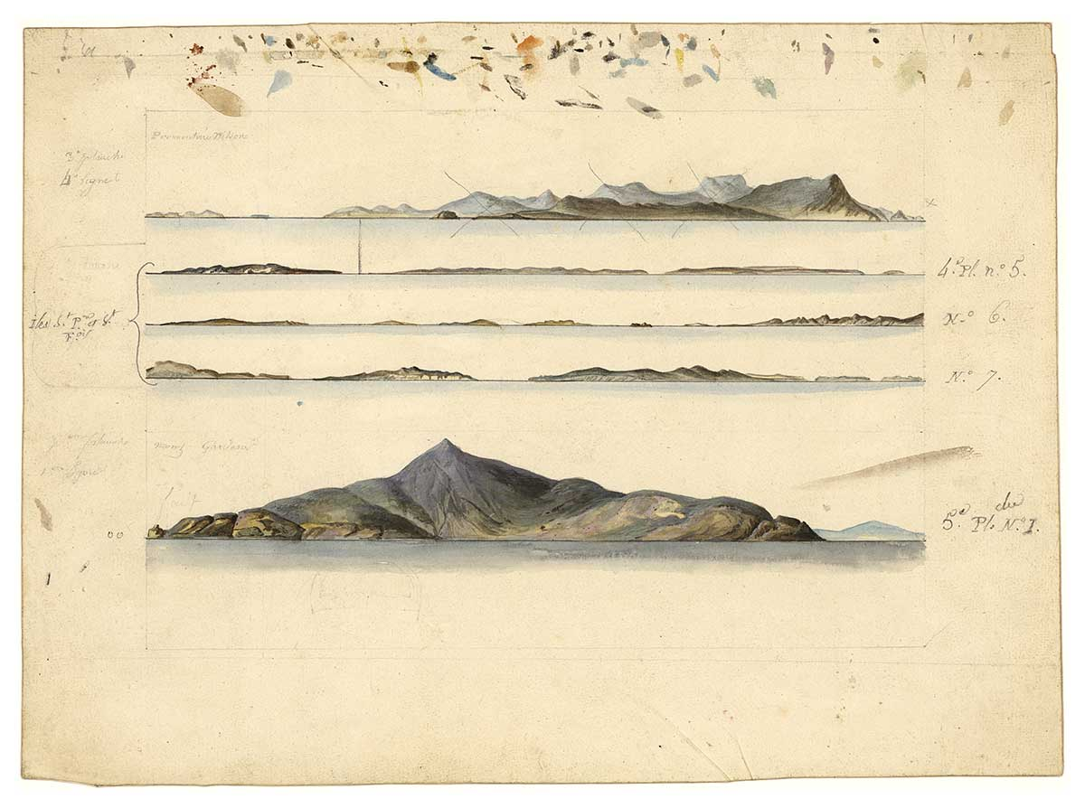 Profiles of Australian coasts by Charles-Alexandre Lesueur or Nicolas-Martin Petit. Gouache and pencil on paper. - click to view larger image