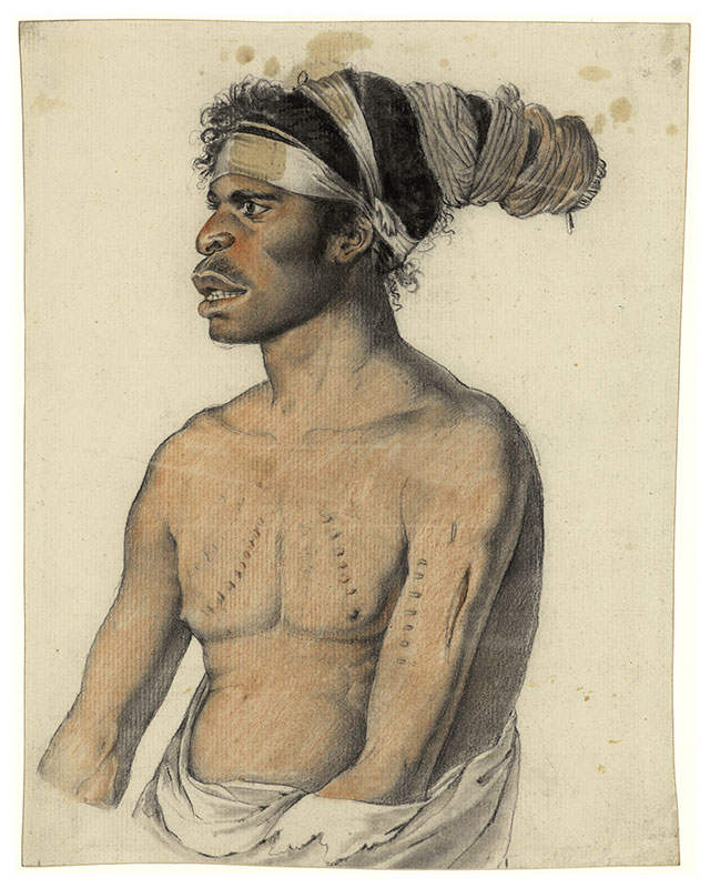 Portrait of Morore, man from New Holland by Nicolas-Martin Petit. Pastel and charcoal (?) on paper. - click to view larger image