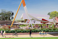 artist impression of a building's forecourt