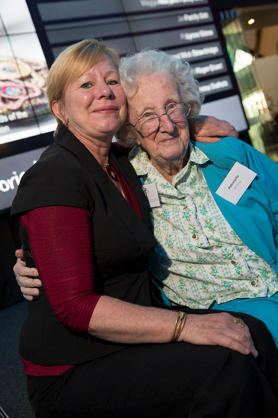 Museum donor Petronella Wensing, with her daughter Veronica, at the launch of the Museum Donor Honour Board, November 2013.