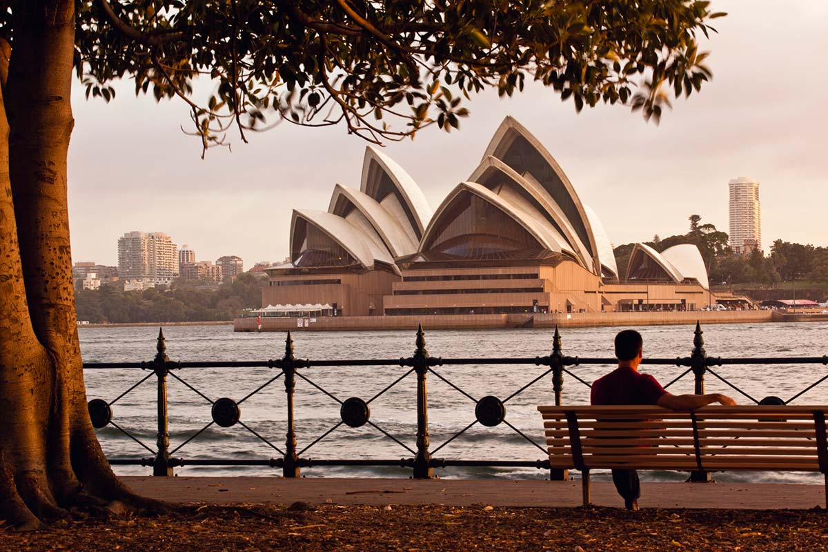 The Opera House and Harbour in the background.