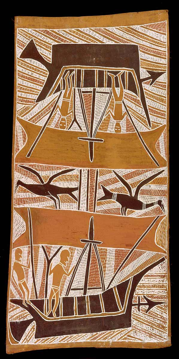 Bark painting depicting Makasar in boats - click to view larger image