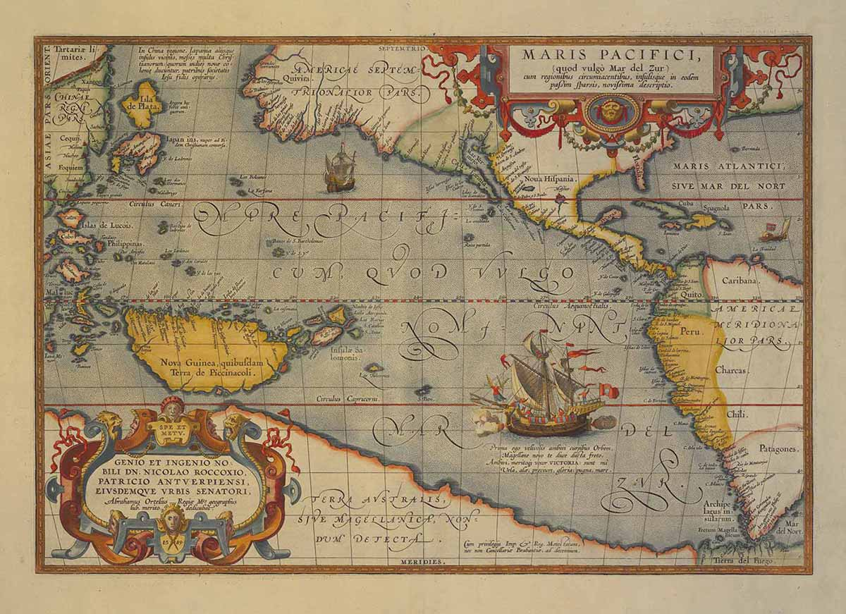 Hand-coloured copper engraving map of the Pacific, 1595, 'Maris Pacifici'.