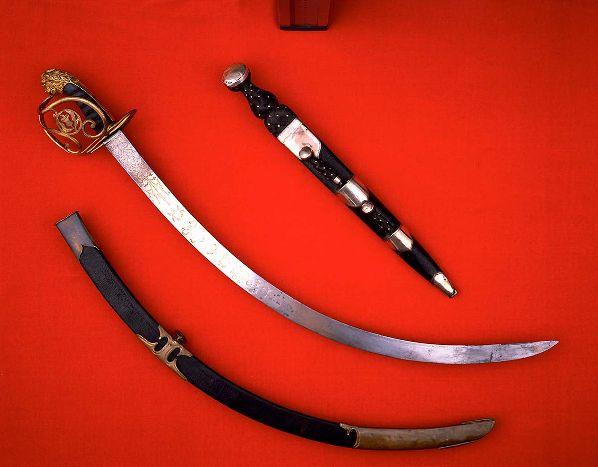 A sword and scabbard.