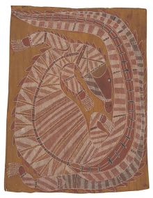 An Indigenous bark painting depicting a crocodile