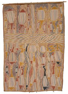 An Indigenous bark painting depicting creatures of the Arafura Swamp