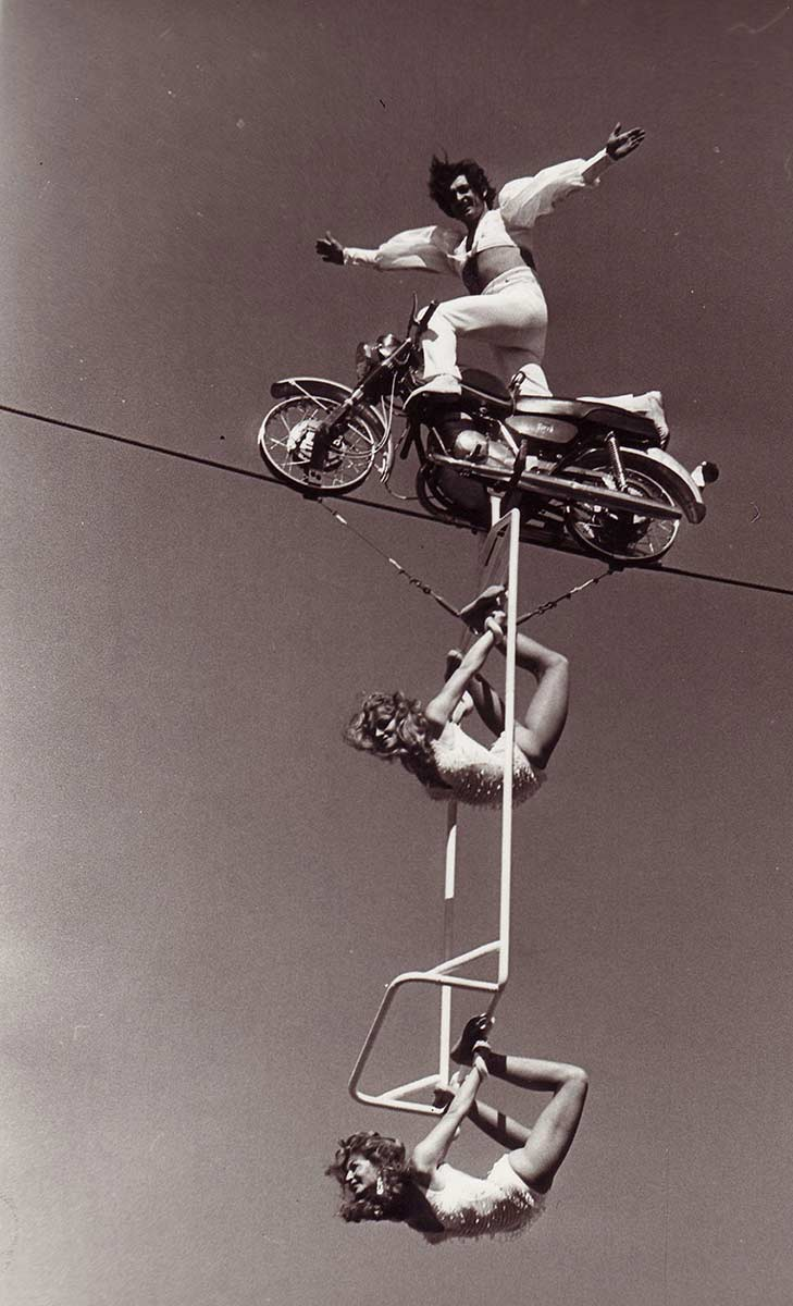 Acrobats on a high wire.  - click to view larger image