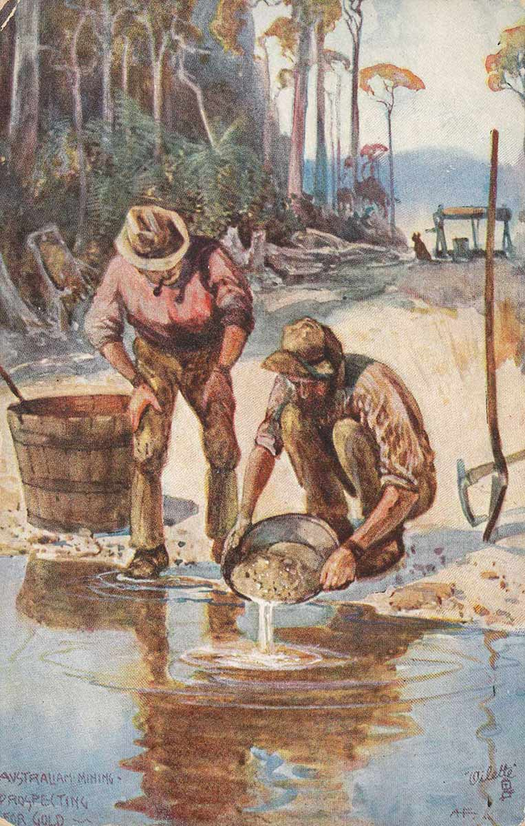 Colour illustration of two men working beside a waterway. One man crouches, holding a shallow pan over the water. The second man stands, smoking a pipe, watching the pan. - click to view larger image