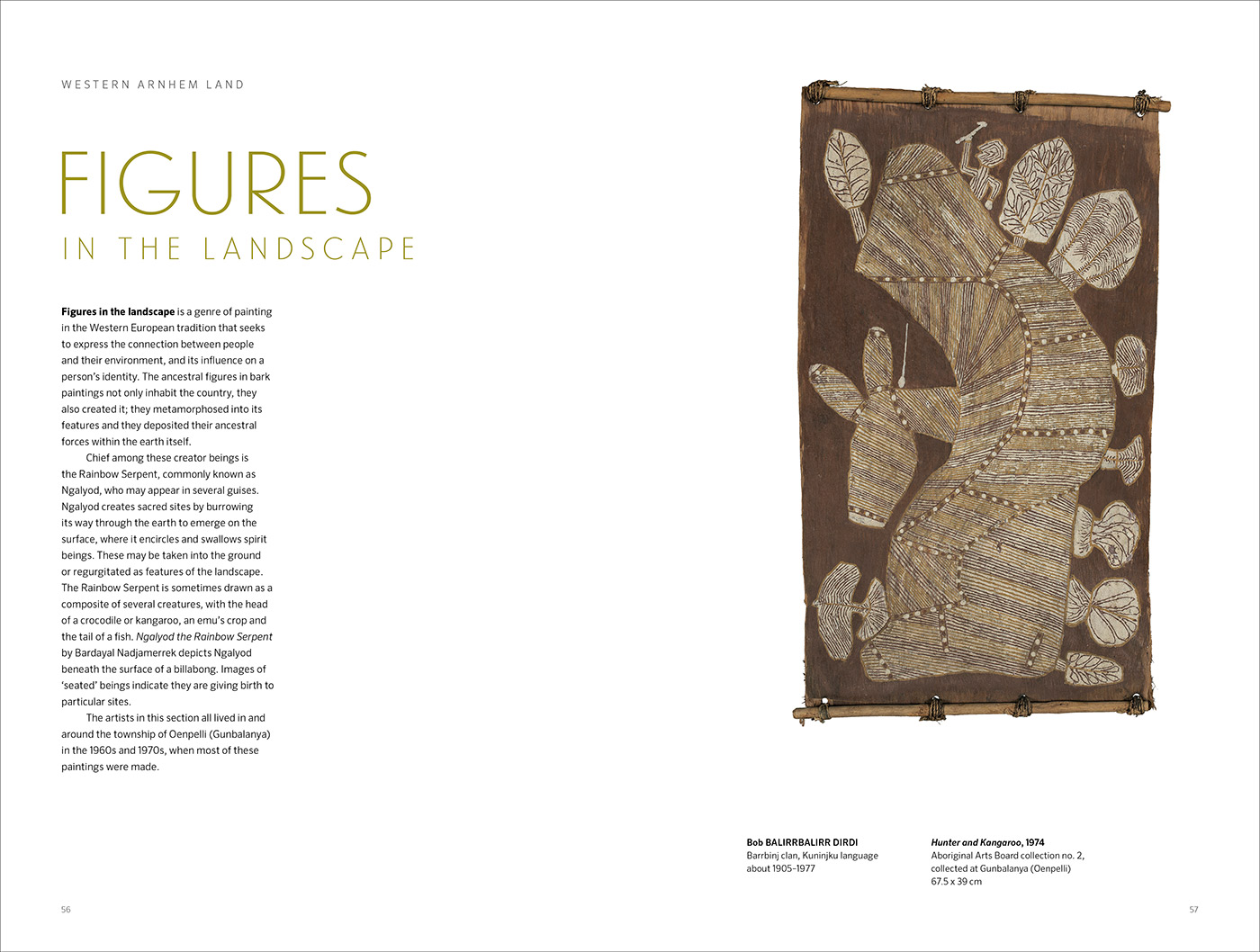An image of page two from the Old Masters catalogue. It includes an Indigenous bark painting and text. - click to view larger image