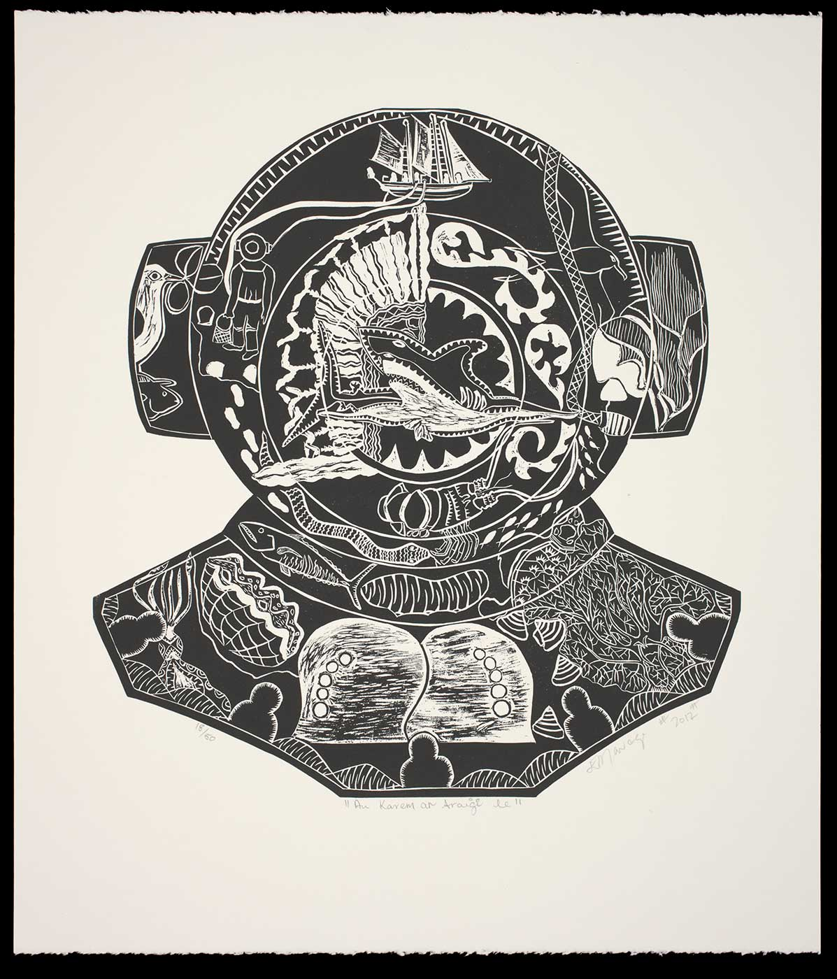 Black and white artwork depicting a diver's helmet - click to view larger image