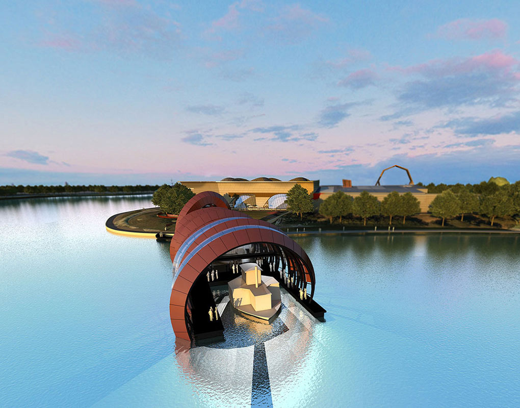 An architect's design concept for the Museum's Enterprise and Technology Centre reaching out over Lake Burley Griffin. - click to view larger image