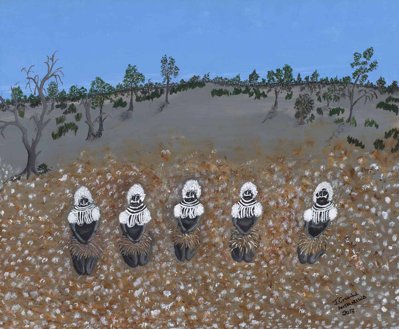 A painting on canvas depicting a landscape with a blue sky, followed by grey brown trees with green leaves. Featured in the foreground of the painting is a white, brown and grey spotted field. Amongst the field are five figures with white hair and white body paint with feather skirts around each waist. - click to view larger image